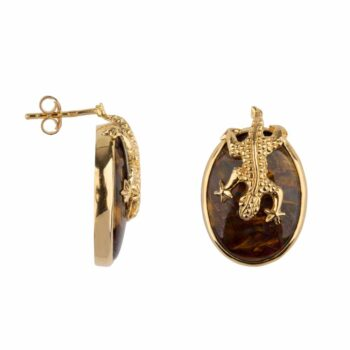E2106 Gold BROWN Lizard Stud Agathe Earring Gold Plated 99,95
