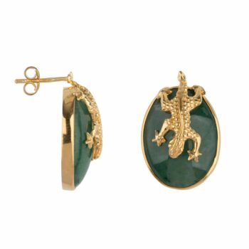 E2106 Gold GREEN Lizard Stud Green Aventurin Earring Gold Plated 99,95
