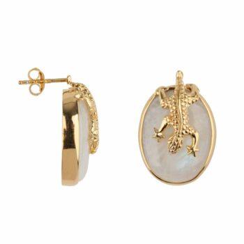 E2106 Gold WHITE Lizard Stud Moonstone White Earring Gold Plated 99,95