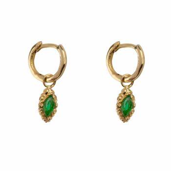 E2113 Gold GREEN Small Hoop Antique Drop Earring Gold Plated Green 49,95