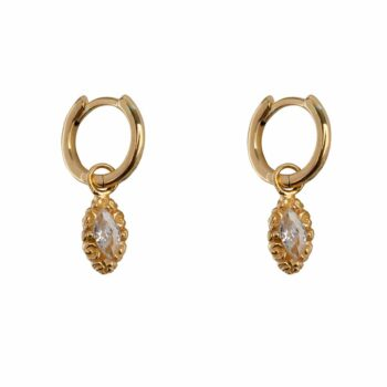 E2113 Gold WHITE Small Hoop Antique Drop Earring Gold Plated White 49,95