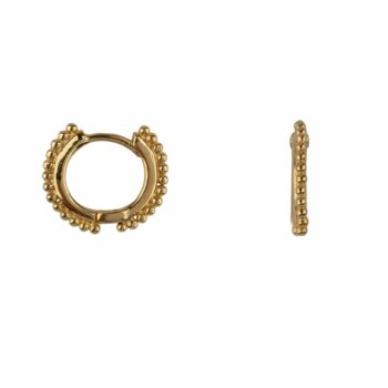 E2114 Gold Balls on a small Hoop Earring Gold Plated 49,95