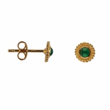 E2116 Gold GREEN Double Dotted Stud Earring Gold Plated Jade 39,95