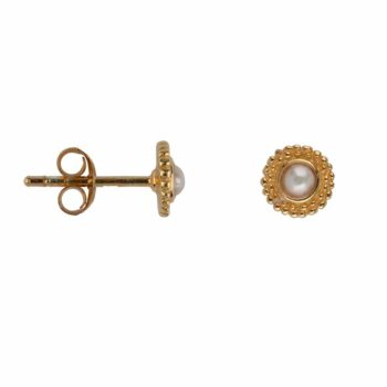 E2116 Gold WHITE PEARL Double Dotted Stud Earring Gold Plated Pearl 39,95