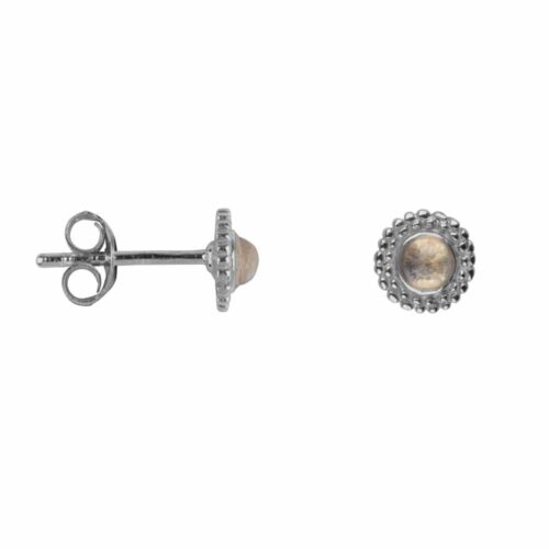 E2116 Silver WHITE MOONSTONE Double Dotted Stud Earring Silver Moonstone 34,95