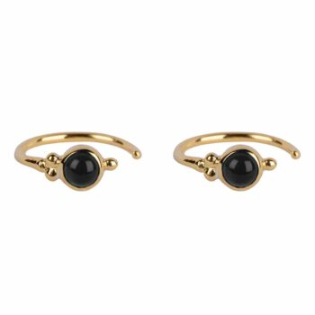 E2117 Gold BLACK Antique Black Onyx Ring Earring Gold Plated 39,95