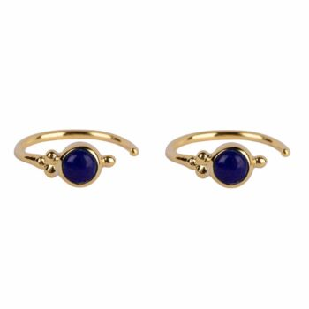 E2117 Gold DARK BLUE Antique Lapis Lazuli Ring Earring Gold Plated 39,95