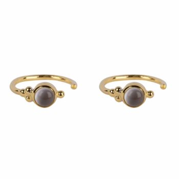 E2117 Gold WHITE MOONSTONE Antique Moonstone Ring Earring Gold Plated 39,95