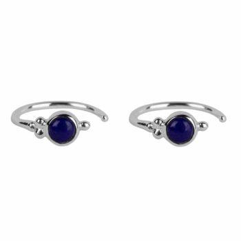 E2117 Silver DARK BLUE Antique Lapis Lazuli Ring Earring Silver 34,95