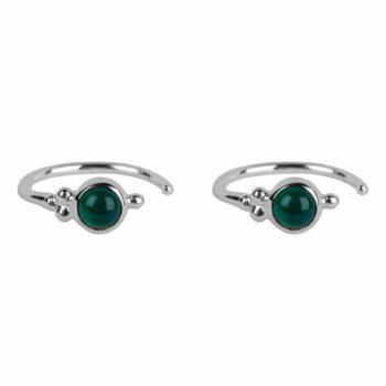 E2117 Silver GREEN Antique Jade Green Ring Earring Silver 34,95