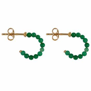 E2119 Gold GREEN Beads Jade Green Stud Earring Gold Plated 39,95