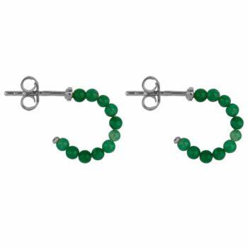 E2119 Silver GREEN Beads Jade Green Stud Earring Silver 34,95