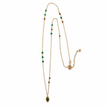 N2102 Gold Beads Green and Camel Antique Drop Necklace Gold Plated 89,95 SMALL PIC