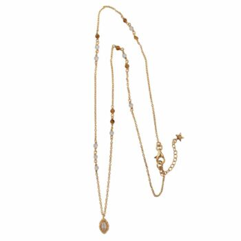 N2103 Gold Beads White and Camel Small Antique Drop Necklace Gold Plated 89,95 SMALL PIC