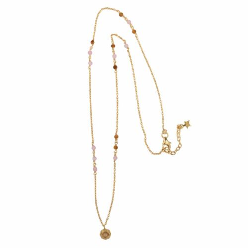 N2104 Gold Beads Pink and Camel Small Curly Edge Moonstone Necklace Gold Plated 89,95