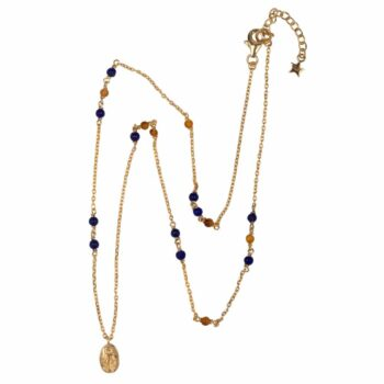 N2105 Gold Beads Blue and Camel Mini Maria Necklace Gold Plated 89,95