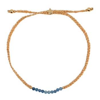 B2131 Gold BLUE Braided Beads Bracelet Gold Plated BLUE AGATHE