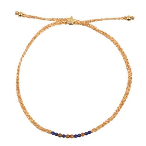 B2131 Gold BLUE CAMEL Braided Beads Bracelet Gold Plated LAPIZ TIGEREYE