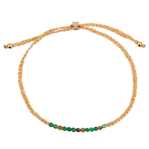 B2131 Gold GREEN CAMEL Braided Beads Bracelet Gold Plated JADE TIGEREYE