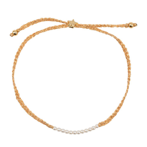B2131 Gold WHITE Braided Beads Bracelet Gold Plated PEARL