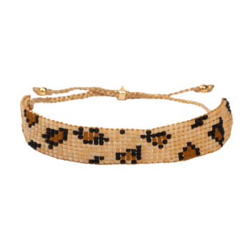 B2132 Gold BEIGE Leopard Beads Bracelet Gold Plated BEIGE
