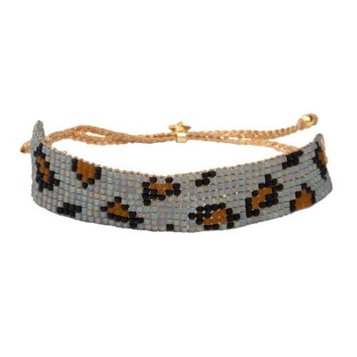 B2132 Gold BLUE Leopard Beads Bracelet Gold Plated BLUE