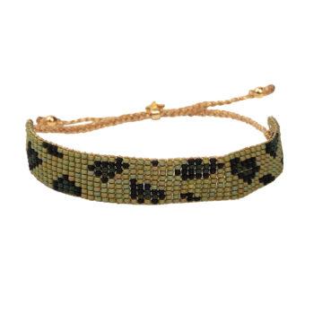 B2132 Gold GREEN Leopard Beads Bracelet Gold Plated GREEN
