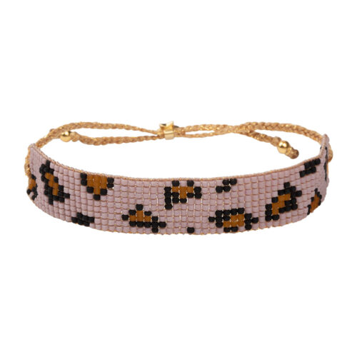 B2132 Gold PINK Leopard Beads Bracelet Gold Plated PINK