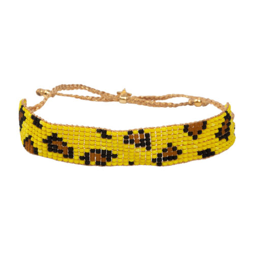 B2132 Gold YELLOW Leopard Beads Bracelet Gold Plated YELLOW