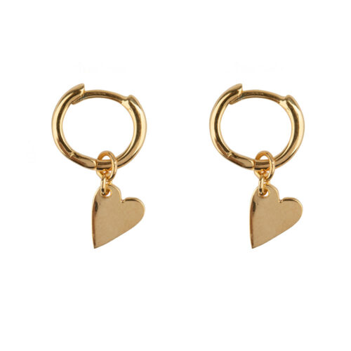 E2126 Gold Small Hoop Heart Earring Gold Plated