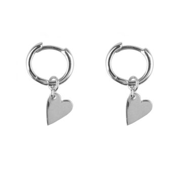 E2126 Silver Small Hoop Heart Earring Silver