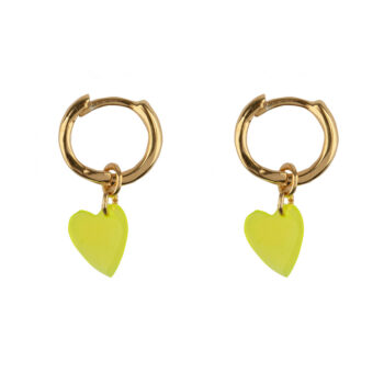 E2127 Gold YELLOW Small Hoop Resin Heart Earring Gold Plated YELLOW
