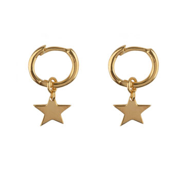 E2128 Gold Small Hoop Star Earring Gold Plated