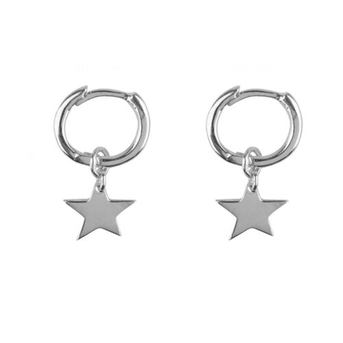 E2128 Silver Small Hoop Star Earring Silver