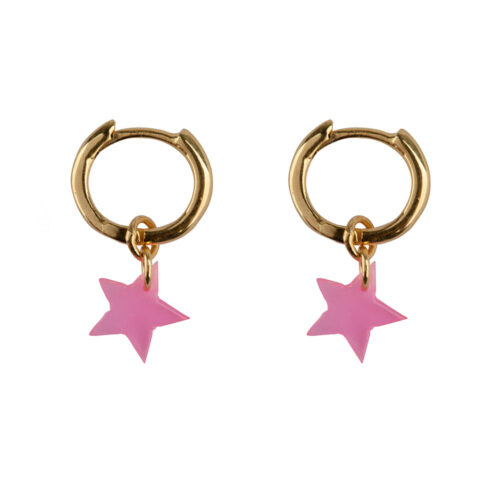 E2129 Gold PINK Small Hoop Resin Star Earring Gold Plated PINK