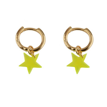 E2129 Gold YELLOW Small Hoop Resin Star Earring Gold Plated YELLOW