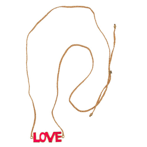N2130 Gold PINK Braided Resin Love Necklace Gold Plated PINK