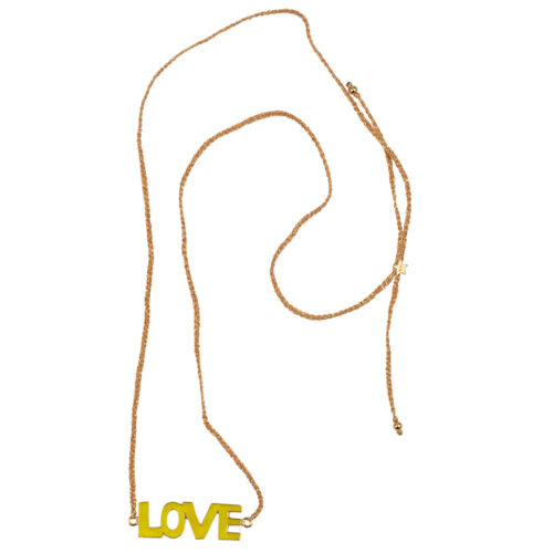 N2130 Gold YELLOW Braided Resin Love Necklace Gold Plated YELLOW