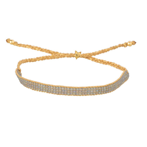 B2160 Gold BLUE GREY Beaded Plain Bracelet Gold Plated BLUE GREY