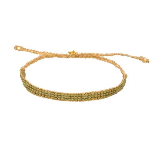 B2160 Gold GREEN Beaded Plain Bracelet Gold Plated GREEN
