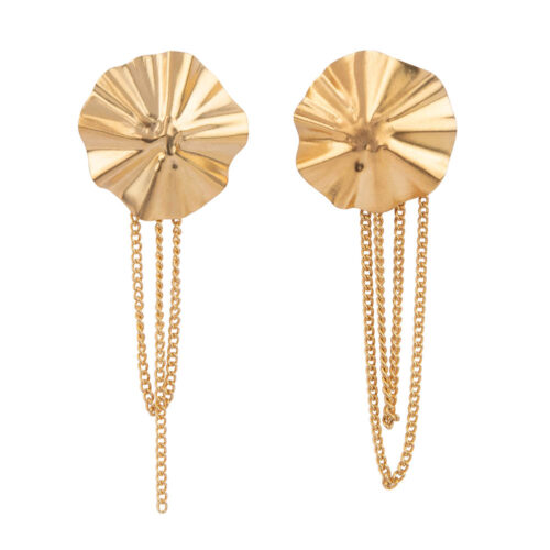 E2150 Gold Folded Big Round Chain Stud Earring Gold Plated
