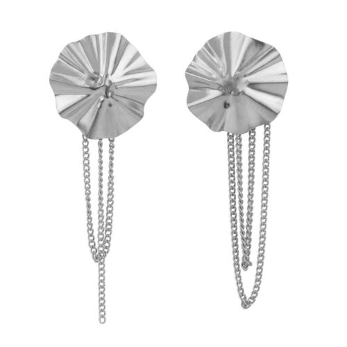 E2150 Silver Folded Big Round Chain Stud Earring Silver