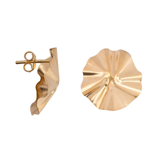 E2151 Gold Folded Big Round Stud Earring Gold Plated