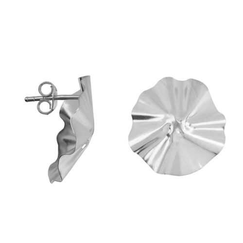E2151 Silver Folded Big Round Stud Earring Silver