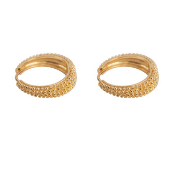 E2152 Gold Big Dotted Hoop Earring Gold Plated