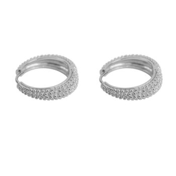 E2152 Silver Big Dotted Hoop Earring Silver