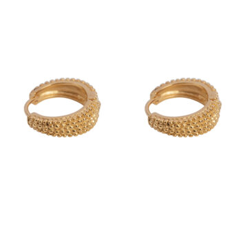 E2154 Gold Small Dotted Hoop Earring Gold Plated