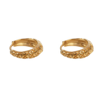E2155 Gold Small Crossed Hoop Earring Gold Plated