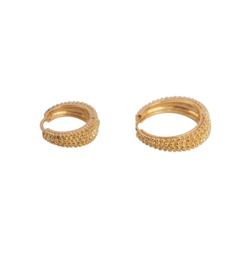 E2156 Gold Big and Small Dotted Hoop Earring Gold Plated