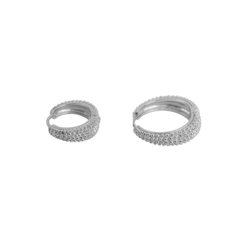 E2156 Silver Big and Small Dotted Hoop Earring Silver